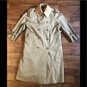 Aquascutum Men's Button Down Trench Long Coat Made in England Size 40R Vintage.